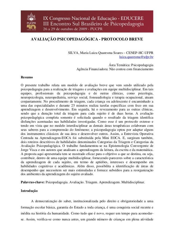 Avaliação Psicopedagógica Protocolo Breve