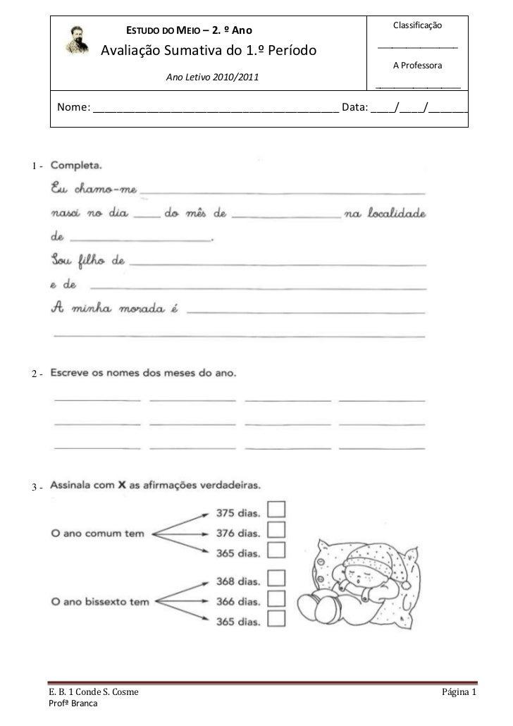 Classificação                       ESTUDO DO MEIO – 2. º Ano                                                             ...