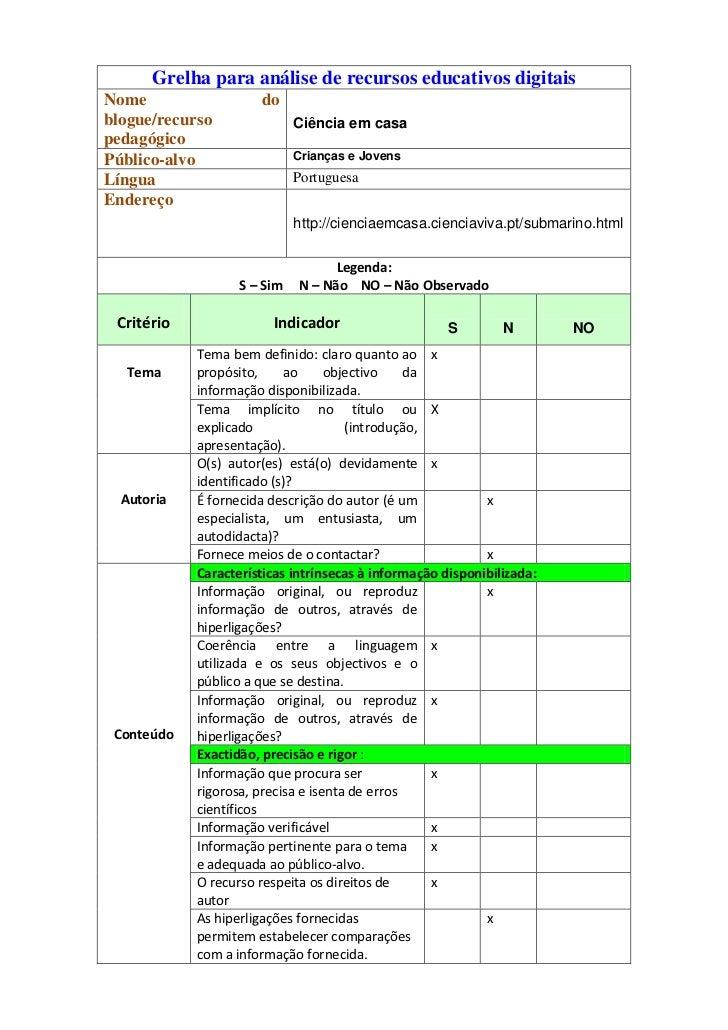Grelha para análise de recursos educativos digitaisNome                  doblogue/recurso               Ciência em casaped...