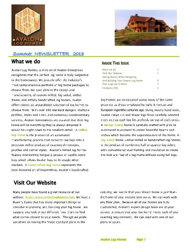 Summer NEWSLETTER 2013 Visit Our Website INSIDE THIS ISSUE What we do 1 Visit Our Website 1 Saving Money When Designing An...