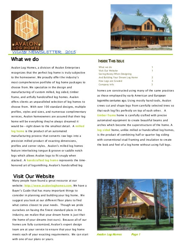 WinWinWinWinterterterter NEWSLETTERNEWSLETTERNEWSLETTERNEWSLETTER 2020202011115555 Avalon Log Homes, a division of Avalon ...