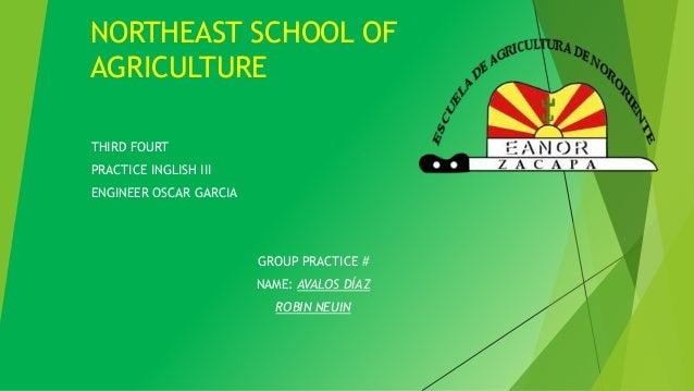 NORTHEAST SCHOOL OF  AGRICULTURE  THIRD FOURT  PRACTICE INGLISH III  ENGINEER OSCAR GARCIA  GROUP PRACTICE #  NAME: AVALOS...