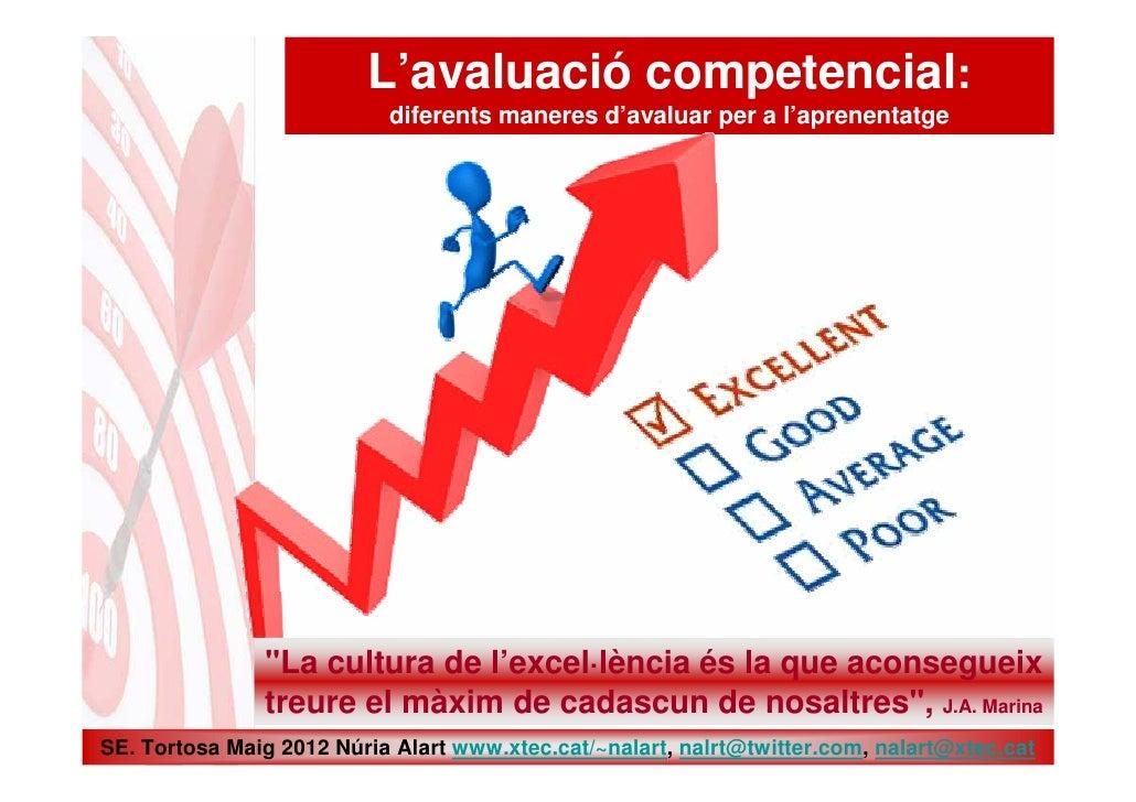 """L'avaluació competencial:                           diferents maneres d'avaluar per a l'aprenentatge               """"La cul..."""