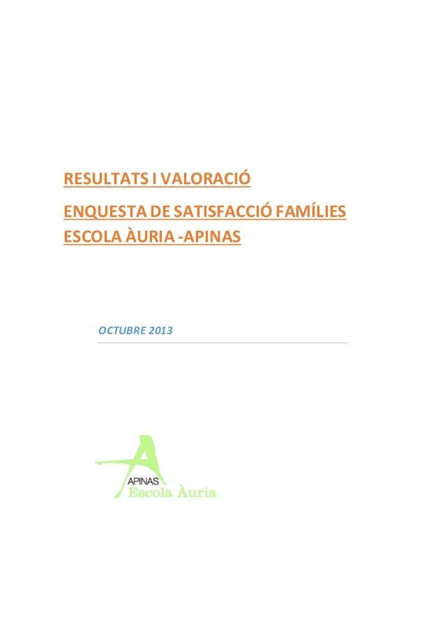 RESULTATS I VALORACIÓ ENQUESTA DE SATISFACCIÓ FAMÍLIES ESCOLA ÀURIA -APINAS  OCTUBRE 2013