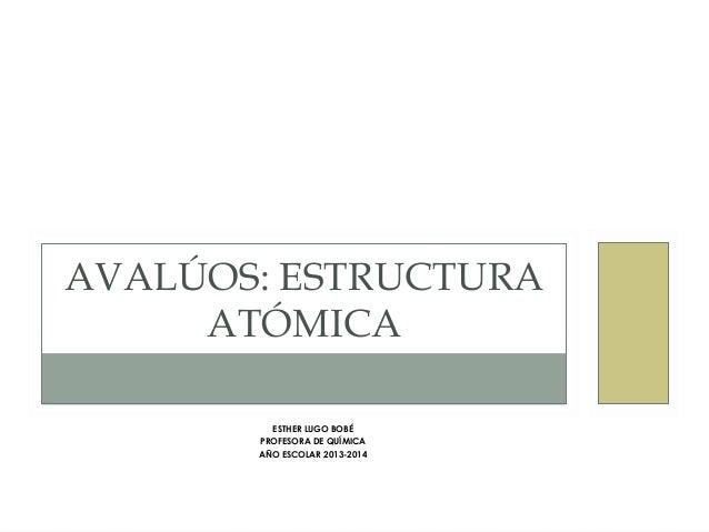 AVALÚOS: ESTRUCTURA  ATÓMICA  ESTHER LUGO BOBÉ  PROFESORA DE QUÍMICA  AÑO ESCOLAR 2013-2014