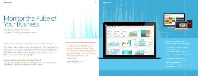 ERP Reimagined 12 What is your business doing right now? This very moment? With Power BI built directly into the Dynamics ...