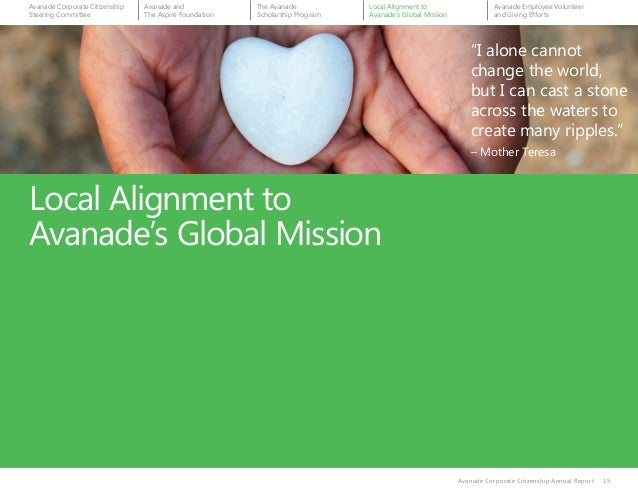 """Local Alignment to Avanade's Global Mission Avanade Corporate Citizenship Annual Report 15 """"I alone cannot change the worl..."""