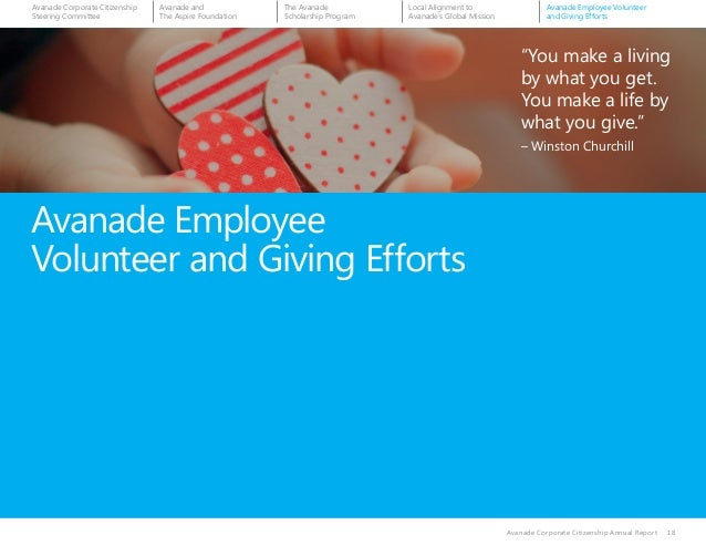 """Avanade Employee Volunteer and Giving Efforts Avanade Corporate Citizenship Annual Report 18 """"You make a living by what yo..."""