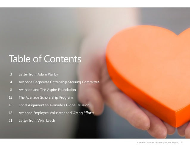 Table of Contents 3 Letter from Adam Warby 4Avanade Corporate Citizenship Steering Committee 8 Avanade and The Aspi...