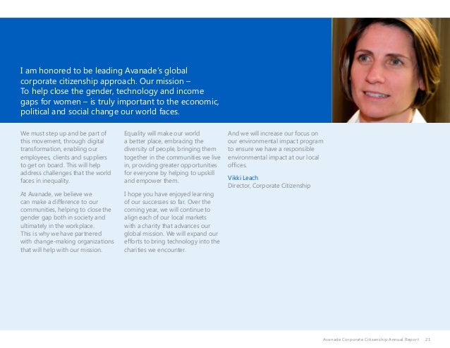 21 I am honored to be leading Avanade's global corporate citizenship approach. Our mission – To help close the gender, tec...