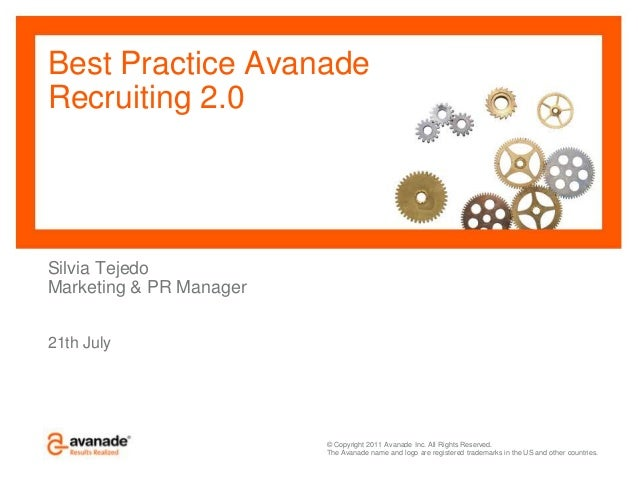 © Copyright 2011 Avanade Inc. All Rights Reserved. The Avanade name and logo are registered trademarks in the US and other...