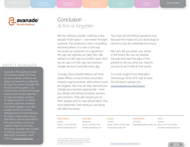 CONCLUSIONAUGMENTED WORKFORCE PLATFORM ECONOMY DESIGN OPS DIGITAL ETHICS NEW USER EXPERIENCES INTRODUCTION 8 www.avanade.c...