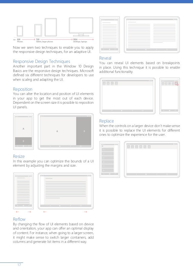 17 Now we seen two techniques to enable you to apply the responsive design techniques, for an adaptive UI. Responsive Desi...