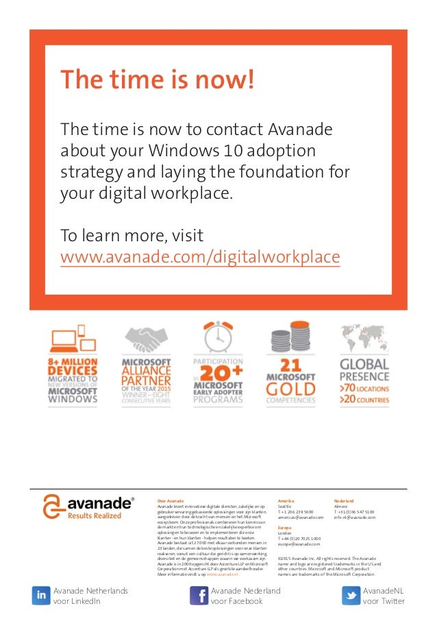 The time is now! The time is now to contact Avanade about your Windows 10 adoption strategy and laying the foundation for ...