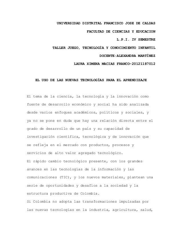 UNIVERSIDAD DISTRITAL FRANCISCO JOSE DE CALDAS FACULTAD DE CIENCIAS Y EDUCACION L.P.I. IV SEMESTRE TALLER JUEGO, TECNOLOGÍ...