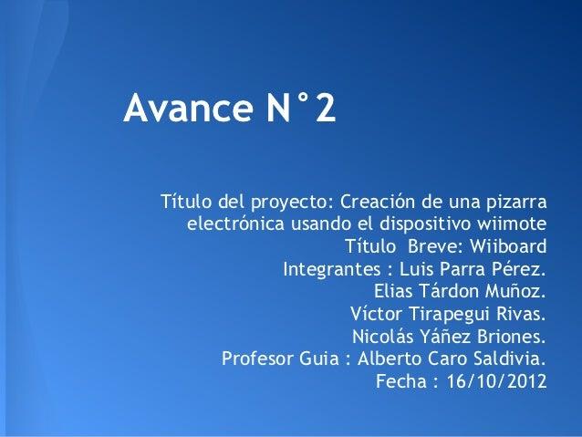 Avance N°2 Título del proyecto: Creación de una pizarra    electrónica usando el dispositivo wiimote                      ...