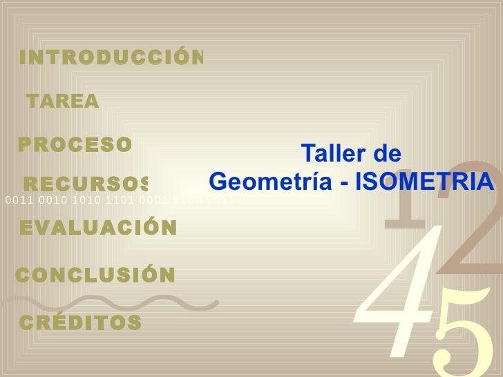 Taller de Geometría - ISOMETRIA INTRODUCCIÓN TAREA PROCESO RECURSOS EVALUACIÓN CONCLUSIÓN CRÉDITOS