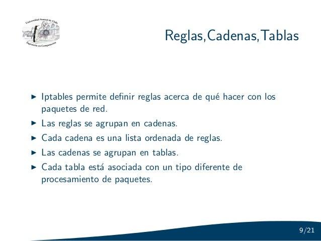 Reglas,Cadenas,TablasIptables permite definir reglas acerca de qu´ hacer con los                                           ...