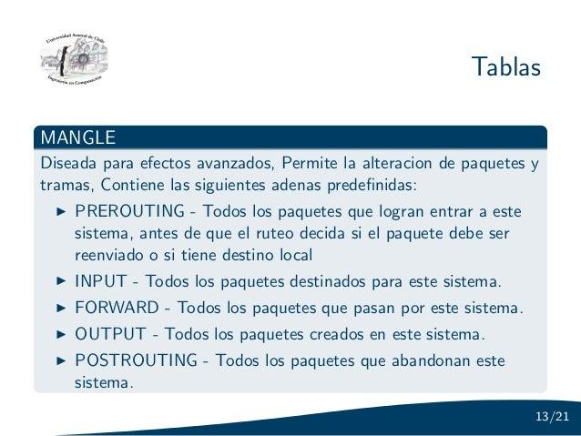 TablasMANGLEDiseada para efectos avanzados, Permite la alteracion de paquetes ytramas, Contiene las siguientes adenas pred...