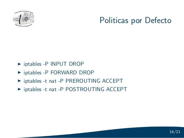 Politicas por Defectoiptables -P INPUT DROPiptables -P FORWARD DROPiptables -t nat -P PREROUTING ACCEPTiptables -t nat -P ...