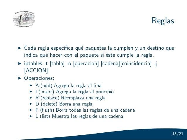ReglasCada regla especifica qu´ paquetes la cumplen y un destino que                        eindica qu´ hacer con el paquet...