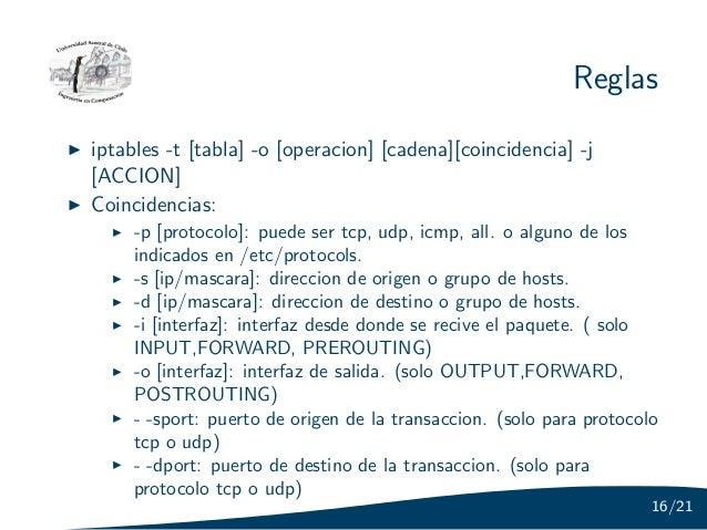 Reglasiptables -t [tabla] -o [operacion] [cadena][coincidencia] -j[ACCION]Coincidencias:     -p [protocolo]: puede ser tcp...