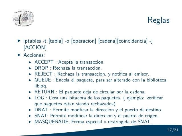 Reglasiptables -t [tabla] -o [operacion] [cadena][coincidencia] -j[ACCION]Acciones:     ACCEPT : Acepta la transaccion.   ...