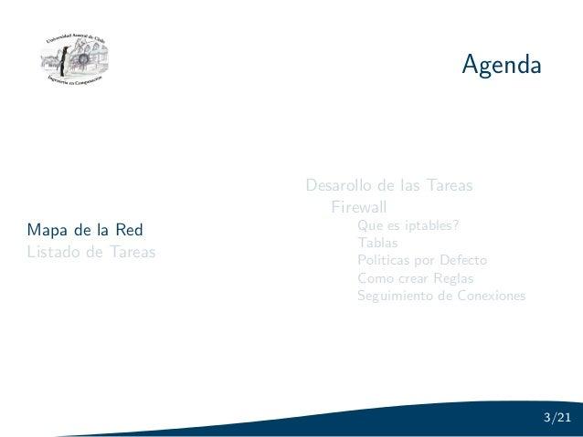 Agenda                    Desarollo de las Tareas                       FirewallMapa de la Red             Que es iptables...