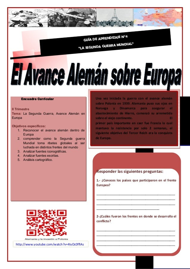 II Trimestre Tema: La Segunda Guerra, Avance Alemán en Europa Objetivos específicos: 1. Reconocer el avance alemán dentro ...