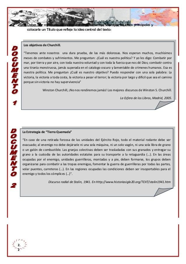 Debes leer cada uno de los siguientes documentos, subrayar las ideas principales y colocarle un Título que refleje la idea...