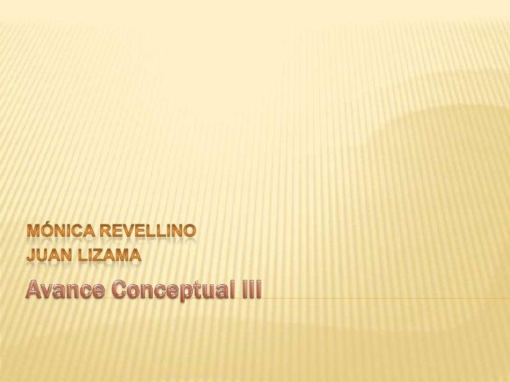 Avance Conceptual III<br />Mónica Revellino<br />Juan Lizama<br />