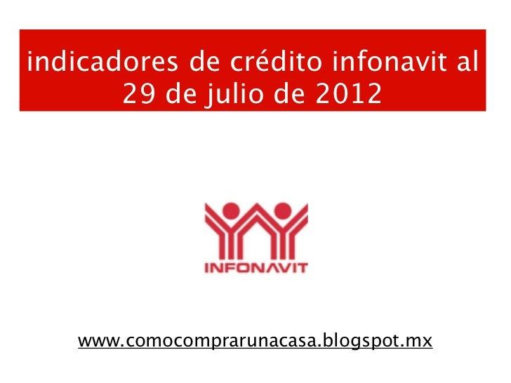 indicadores de crédito infonavit al       29 de julio de 2012    www.comocomprarunacasa.blogspot.mx
