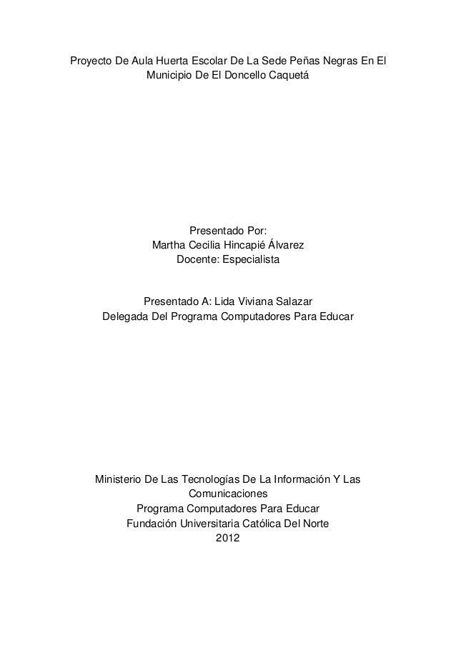 Proyecto De Aula Huerta Escolar Sede Pe As Negras