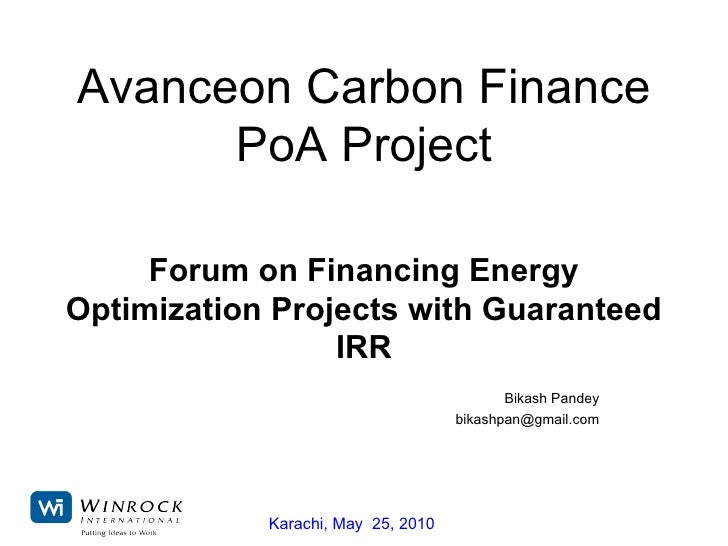 Financing Energy Optimization Projects