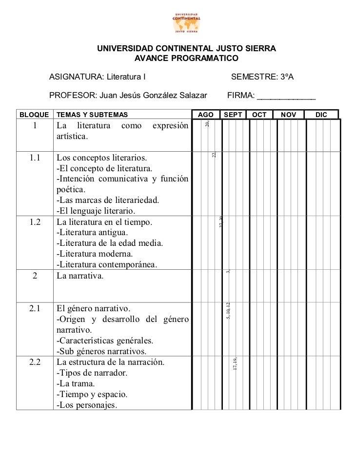 UNIVERSIDAD CONTINENTAL JUSTO SIERRA                            AVANCE PROGRAMATICO         ASIGNATURA: Literatura I      ...