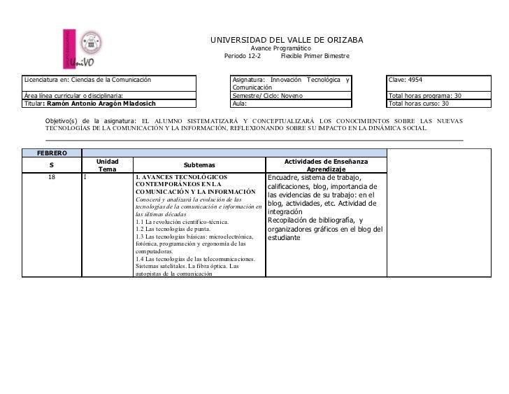 UNIVERSIDAD DEL VALLE DE ORIZABA                                                                                Avance Pro...