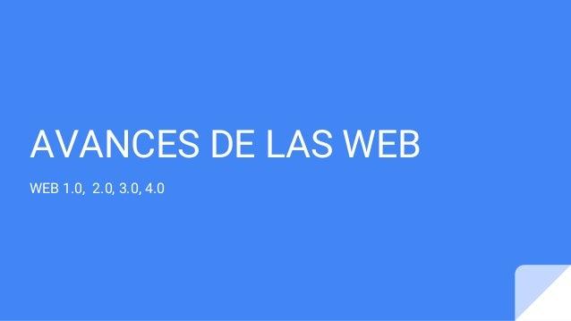 AVANCES DE LAS WEB WEB 1.0, 2.0, 3.0, 4.0