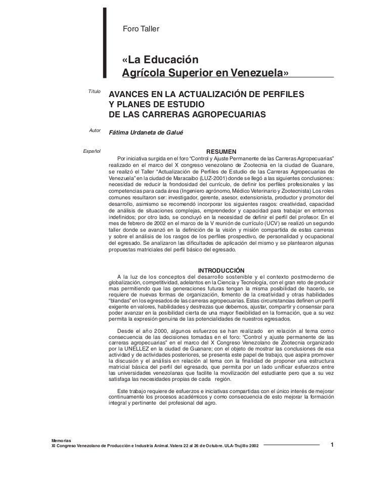 Foro Taller                                  «La Educación                                  Agrícola Superior en Venezuela...