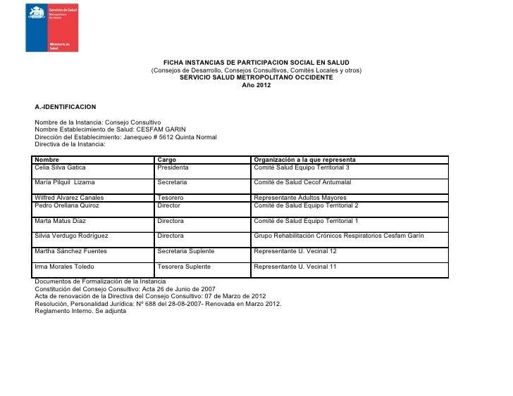 FICHA INSTANCIAS DE PARTICIPACION SOCIAL EN SALUD                                      (Consejos de Desarrollo, Consejos C...