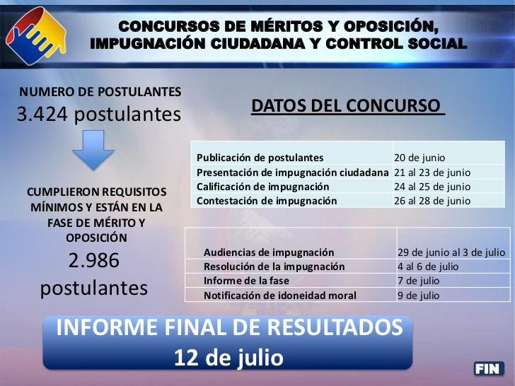 CONCURSOS DE MÉRITOS Y OPOSICIÓN,          IMPUGNACIÓN CIUDADANA Y CONTROL SOCIALNUMERO DE POSTULANTES3.424 postulantes   ...