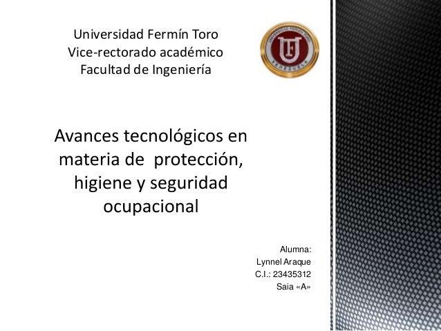 Alumna: Lynnel Araque C.I.: 23435312 Saia «A» Universidad Fermín Toro Vice-rectorado académico Facultad de Ingeniería