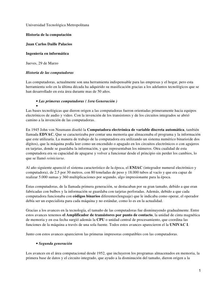 Universidad Tecnológica Metropolitana  Historia de la computación  Juan Carlos Daille Palacios  Ingeniería en informática ...