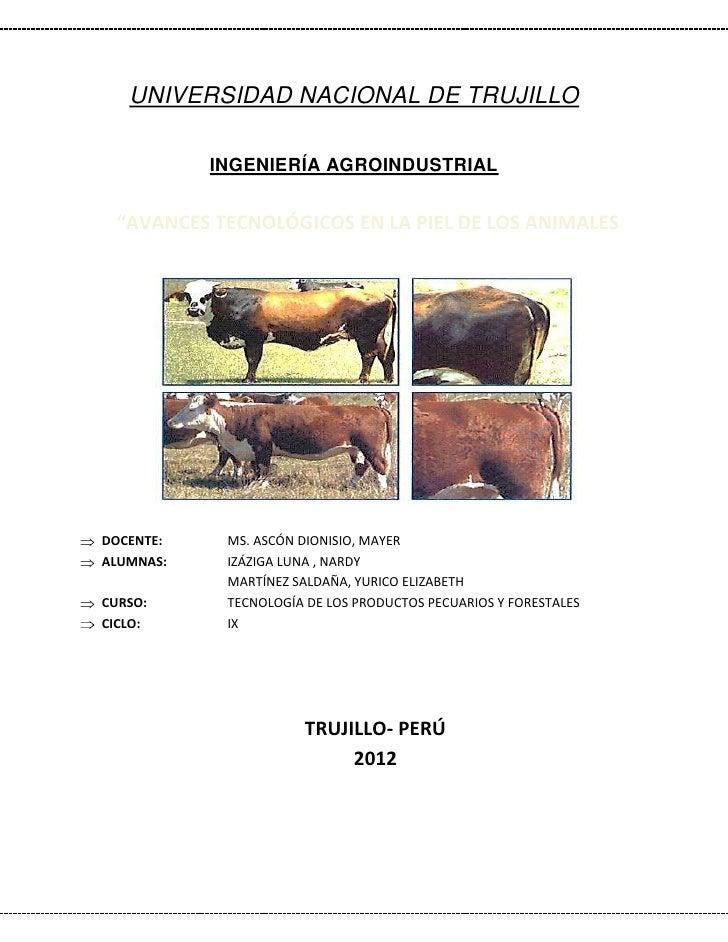 """UNIVERSIDAD NACIONAL DE TRUJILLO           INGENIERÍA AGROINDUSTRIAL """"AVANCES TECNOLÓGICOS EN LA PIEL DE LOS ANIMALESDOCEN..."""