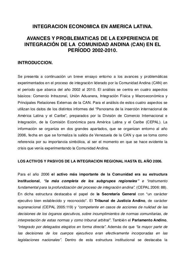INTEGRACION ECONOMICA EN AMERICA LATINA. AVANCES Y PROBLEMATICAS DE LA EXPERIENCIA DE INTEGRACIÓN DE LA COMUNIDAD ANDINA (...