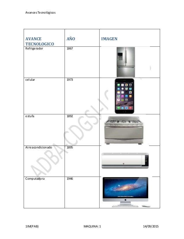 AvancesTecnológicos 1IM(PAB) MAQUINA: 1 14/09/2015 AVANCE TECNOLOGICO AÑO IMAGEN Refrigerador 1867 celular 1973 estufa 189...