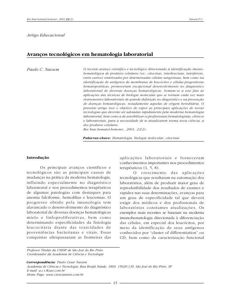 Rev.bras.hematol.hemoter., 2001, 23(2):                                                                           Naoum P....