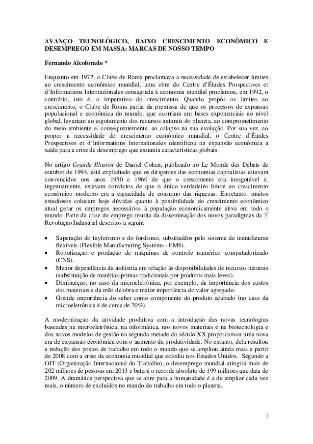 AVANÇO TECNOLÓGICO, BAIXO CRESCIMENTO ECONÔMICO                                     EDESEMPREGO EM MASSA: MARCAS DE NOSSO ...
