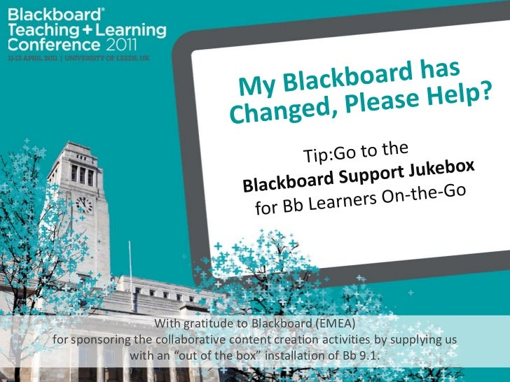My Blackboard has Changed, Please Help? <br />Tip:Go to the <br />Blackboard Support Jukebox <br />for Bb Learners On-the-...