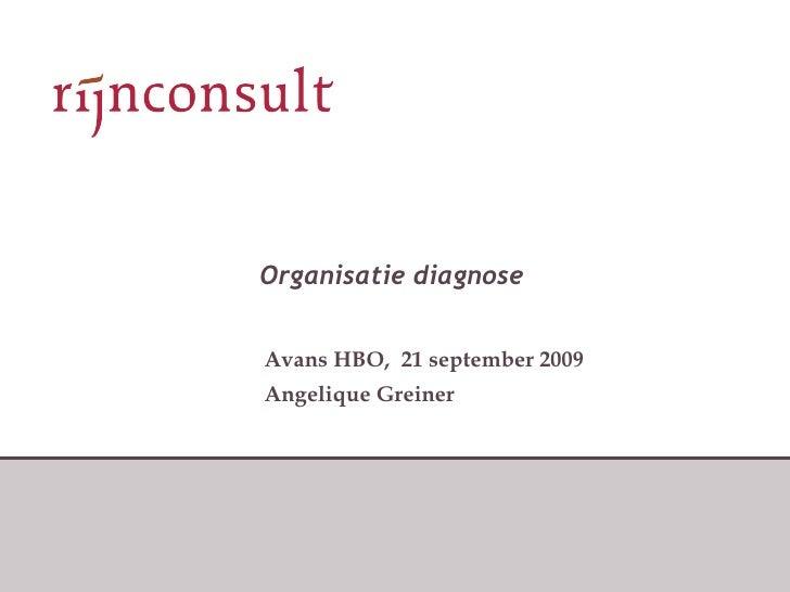 Organisatie diagnose Avans HBO,  21 september 2009 Angelique Greiner