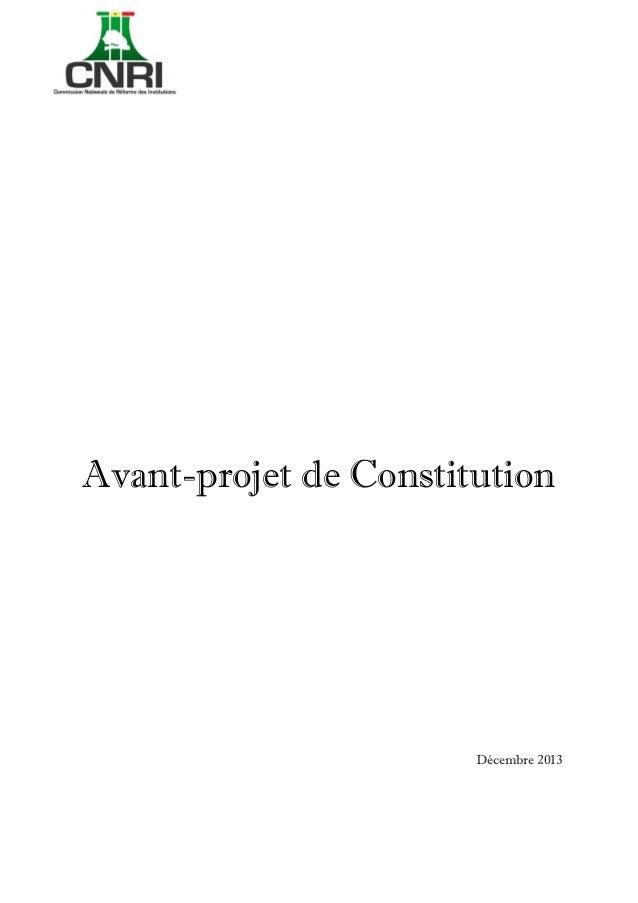 [Tapez un texte]  Avant-projet de Constitution  Décembre 2013